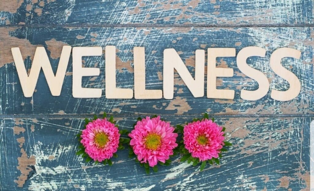 Photo of the word Wellness on a piece of wood. There is 3 pink flowers below the word.